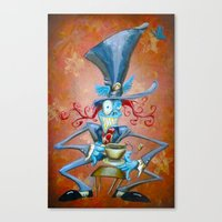 mad hatter Canvas Prints featuring Mad Hatter by Bili Kribbs