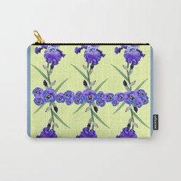 PURPLE WHITE IRIS & PANSIES GARDEN Carry-All Pouch