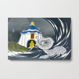 A stegosaurus love story - Yellowbox painting Metal Print