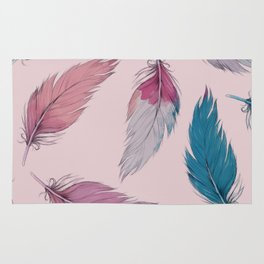 feather light watercolored pastel winter pattern Rug