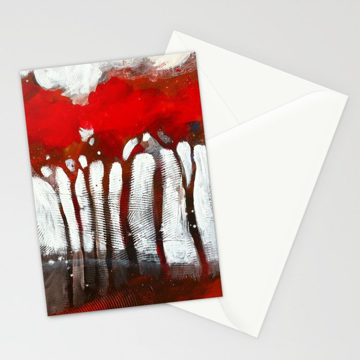 Red trees Stationery Cards