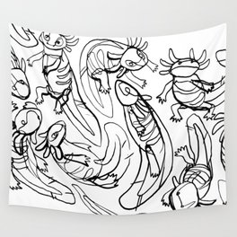 Scribbled Axolotls Wall Tapestry