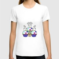 polkadot T-shirts featuring Cute Monster With Pink And Blue Polkadot Cupcakes by Mydeas