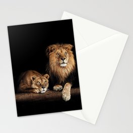 Lion and lioness, animals family. Portrait in the dark Stationery Cards