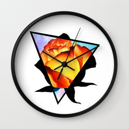 Fire Rose Triangle Wall Clock