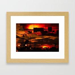 BINARY SUNDOWN - RED Framed Art Print