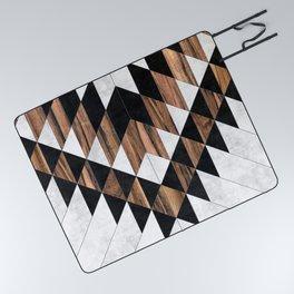 Urban Tribal Pattern No.9 - Aztec - Concrete and Wood Picnic Blanket