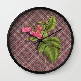Juicy Pink Raspberries Wall Clock