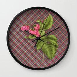 Juicy Pink Raspberries Wall Clock