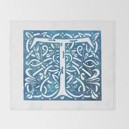 Letter T Elegant Vintage Floral Letterpress Monogram Throw Blanket