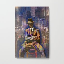 New York Man Seated City Background 1 Metal Print