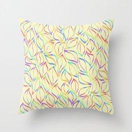 Rainbow Petals on Yellow Throw Pillow