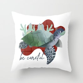 turtle with a mask Throw Pillow