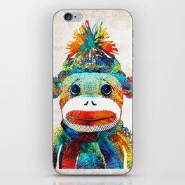 Sock Monkey Art - Your New Best Friend - By Sharon Cummings iPhone Skin