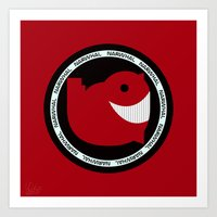 narwhal Art Prints featuring NARWHAL by David Nuh Omar