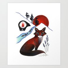 Fox on the Mountain Art Print