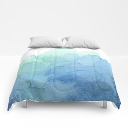 Abstract Watercolor Texture Blue Green Sea Sky Colors Comforters