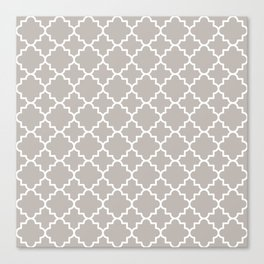 Classic Quatrefoil pattern, warm grey Canvas Print