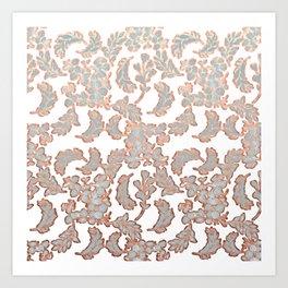 Grey and Rose Gold Leaf Pattern Art Print