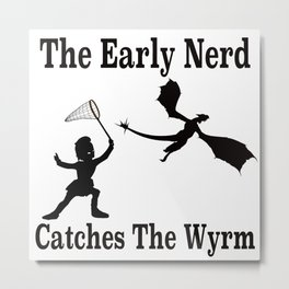 The Early Nerd Catches The Wyrm Silhouette Metal Print