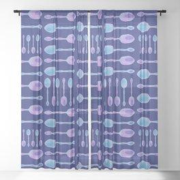 Unique Artsy Spoons! (Dark Blue) Sheer Curtain