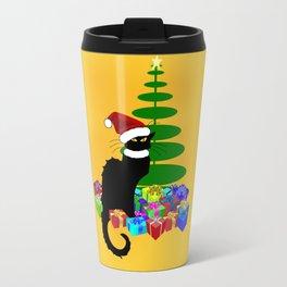 Christmas Le Chat Noir With Santa Hat Travel Mug