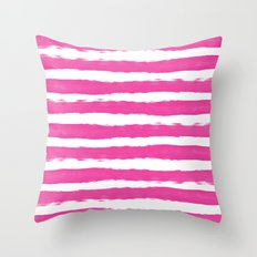 Simple pink and white handrawn stripes - horizontal - for your summer on #Society6 Throw Pillow