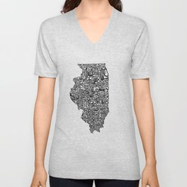 Typographic Illinois Unisex V-Neck