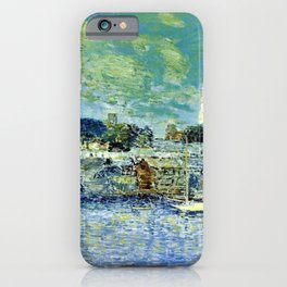 Classical Masterpiece 'Newport, Rhode Island Waterfront' by Frederick Childe Hassam iPhone Case