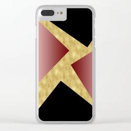 Elegant gold black pink geometry Clear iPhone Case