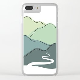 Foggy hills (shades of green) Clear iPhone Case