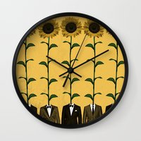 suits Wall Clocks featuring Sunflowers In Suits Print by Roxy Makes Things