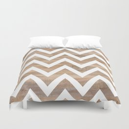 woodgrain cheveron Duvet Cover