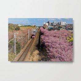 Sakura Train Metal Print