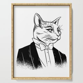 Cat with suit and bow tie Serving Tray