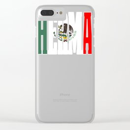 Hermano Gift Mexican Design For Mexican Flag Design For Mexican Pride Vintage Flag OUtline Clear iPhone Case