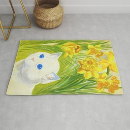 Louis Wain - Cat And Daffodils - Digital Remastered Edition Rug