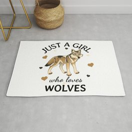 Just a Girl Who Loves wolves Present, Timber Wolf lover gift Rug