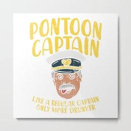 Pontooning: Pontoon Boat Captain on Lake Metal Print