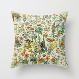 Vintage Scientific French Language Encyclopedia Lithograph Flowers  Throw Pillow