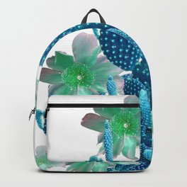 SURREAL BLUE PEAR CACTUS & FLOWERS DESERT ART Backpack
