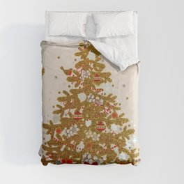 Cozy Christmas Gold Glittered Tree Presents Comforters