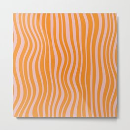 Psychedelic Waves Light Fruity Colors, Orange and Light Pink Metal Print