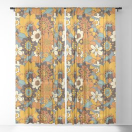 70s Retro Flower Power 60s floral Pattern Orange yellow Blue Sheer Curtain