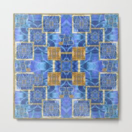 Geometric Blue and Gold Wealth Mandala Metal Print