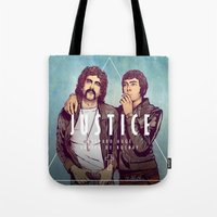 justice league Tote Bags featuring Justice by Matt Chinn