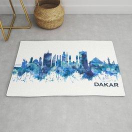 Dakar Senegal Skyline Blue Rug