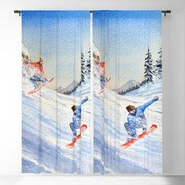 Snowboarders Shreddin' The Gnar Blackout Curtain