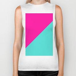 Modern abstract neon pink teal geometric Biker Tank