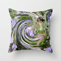pixies Throw Pillows featuring Green Flower fairy by Just Kidding